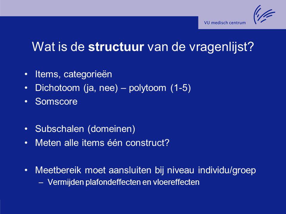 Wat is de structuur van de vragenlijst