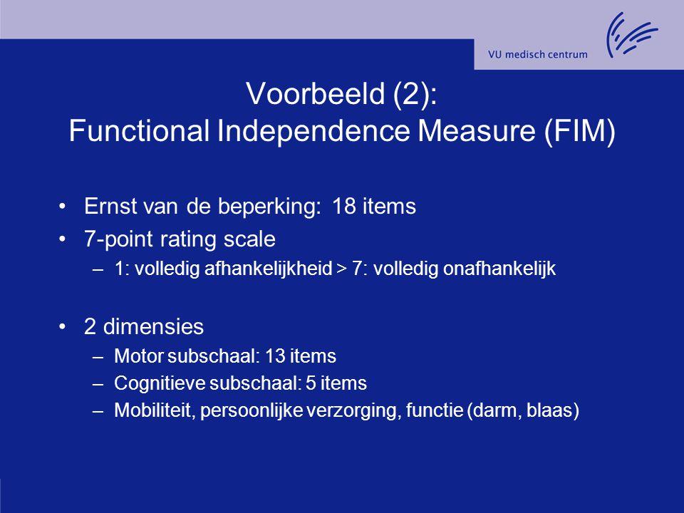 Voorbeeld (2): Functional Independence Measure (FIM)