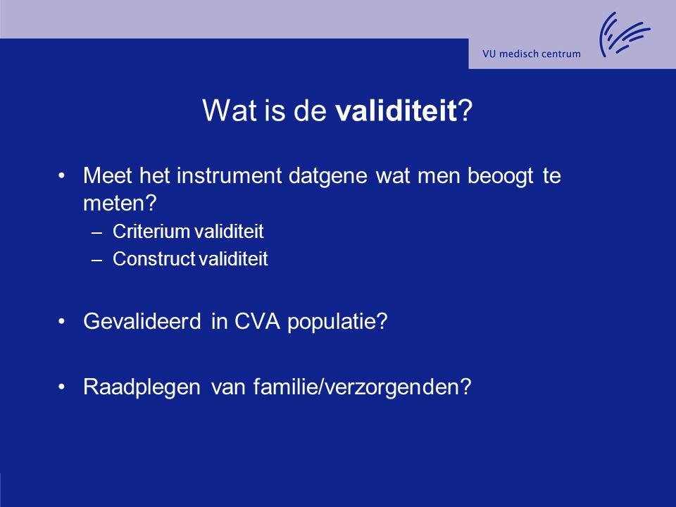 Wat is de validiteit Meet het instrument datgene wat men beoogt te meten Criterium validiteit. Construct validiteit.
