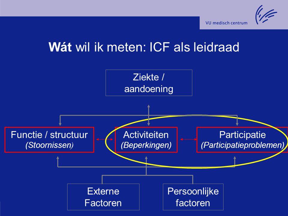 Wát wil ik meten: ICF als leidraad