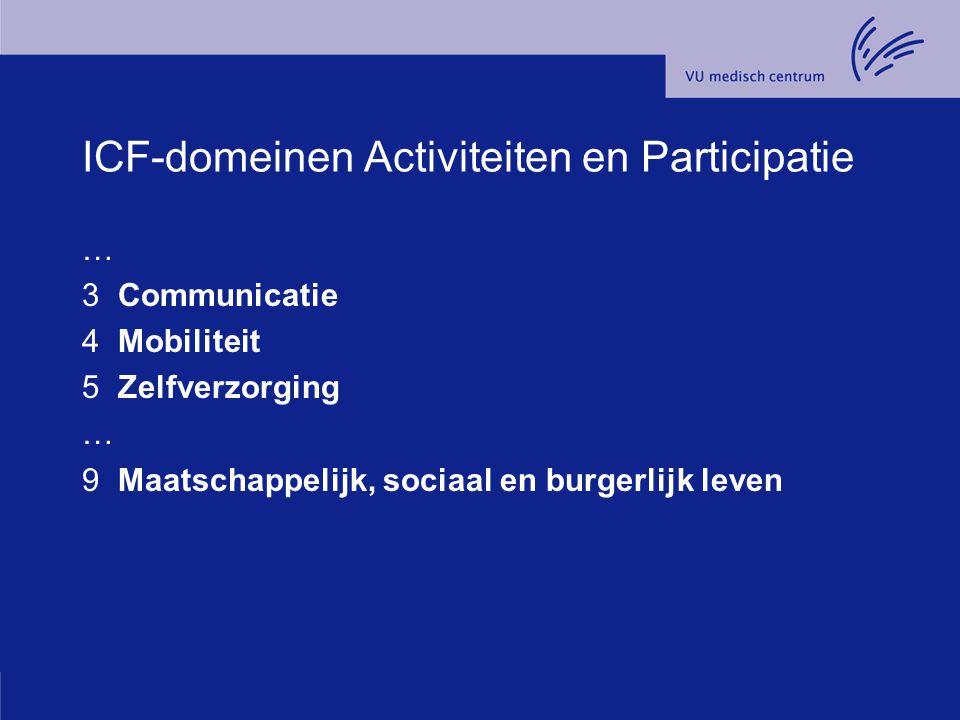 ICF-domeinen Activiteiten en Participatie