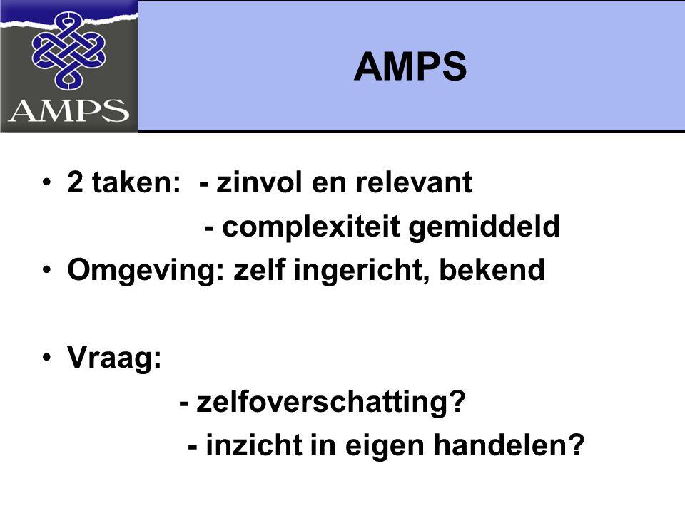 AMPS 2 taken: - zinvol en relevant - complexiteit gemiddeld
