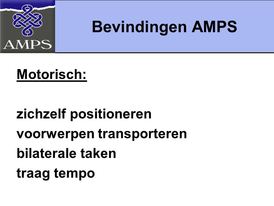 Bevindingen AMPS Motorisch: zichzelf positioneren