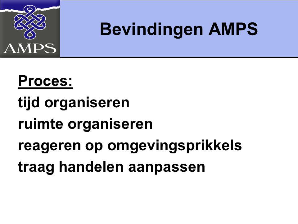 Bevindingen AMPS Proces: tijd organiseren ruimte organiseren
