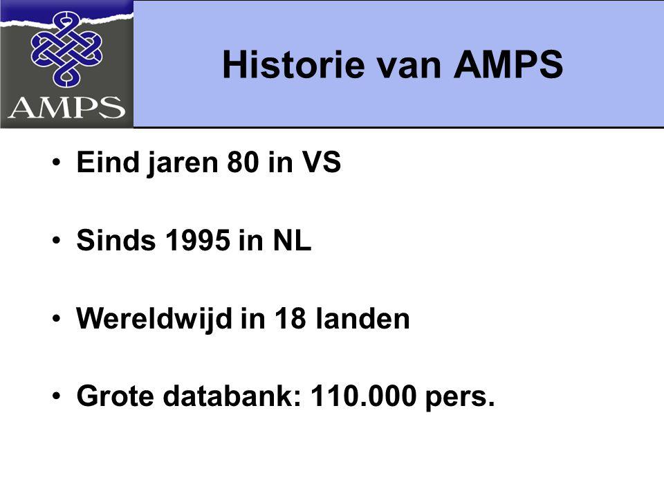 Historie van AMPS Eind jaren 80 in VS Sinds 1995 in NL