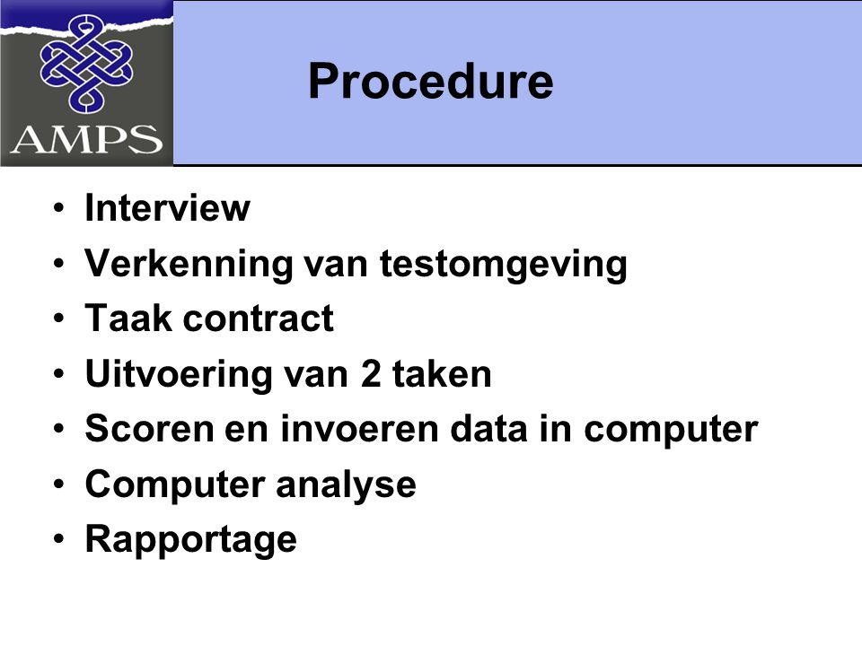 Procedure Interview Verkenning van testomgeving Taak contract