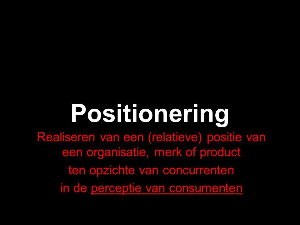 Positionering Realiseren van een (relatieve) positie van een organisatie, merk of product. ten opzichte van concurrenten.