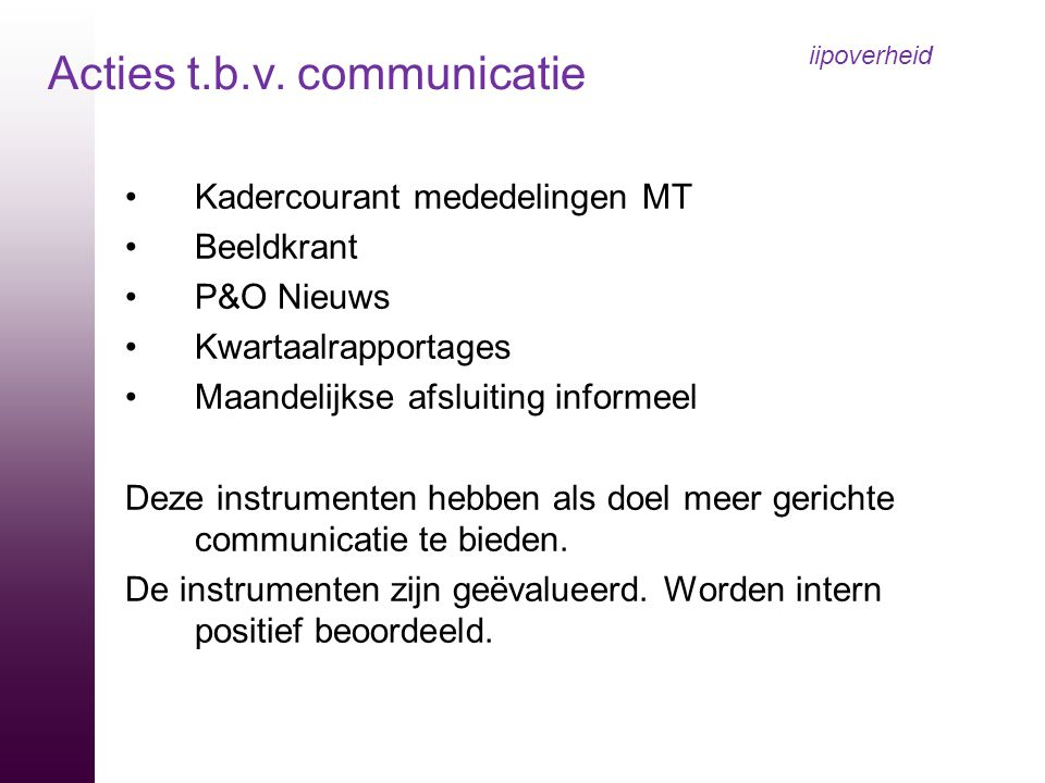 iipoverheid Acties t.b.v. communicatie Kadercourant mededelingen MT
