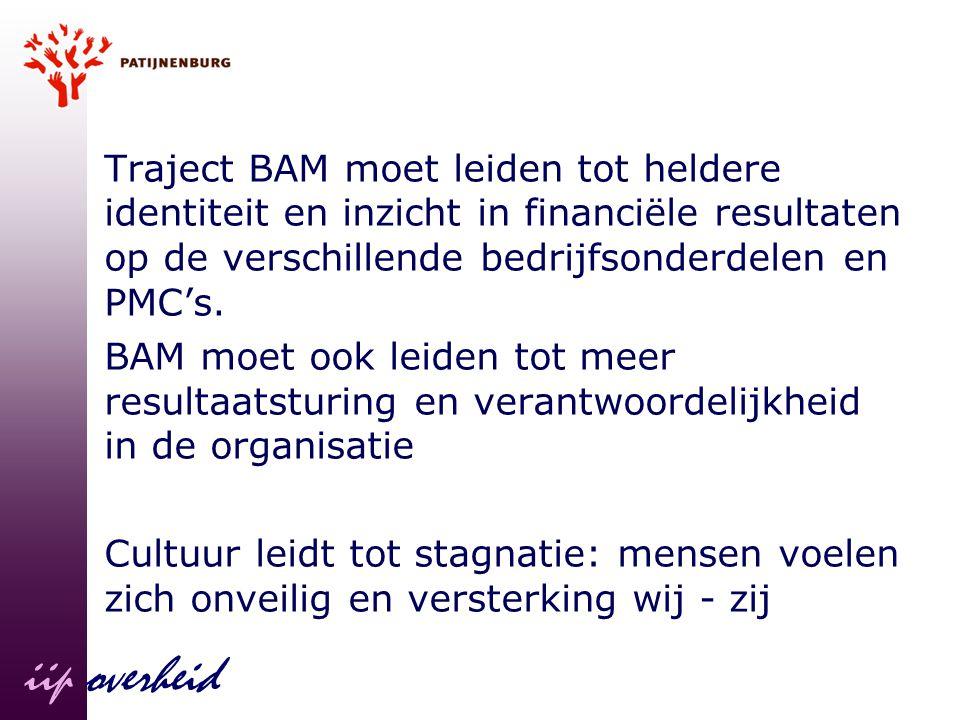 Traject BAM moet leiden tot heldere identiteit en inzicht in financiële resultaten op de verschillende bedrijfsonderdelen en PMC's.