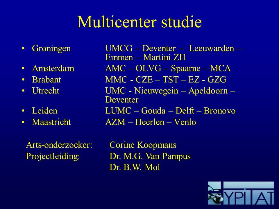 Multicenter studie Groningen UMCG – Deventer – Leeuwarden – Emmen – Martini ZH. Amsterdam AMC – OLVG – Spaarne – MCA.