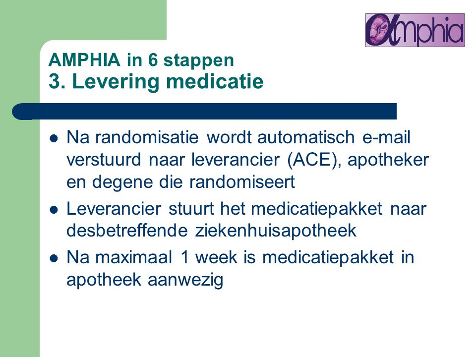 AMPHIA in 6 stappen 3. Levering medicatie