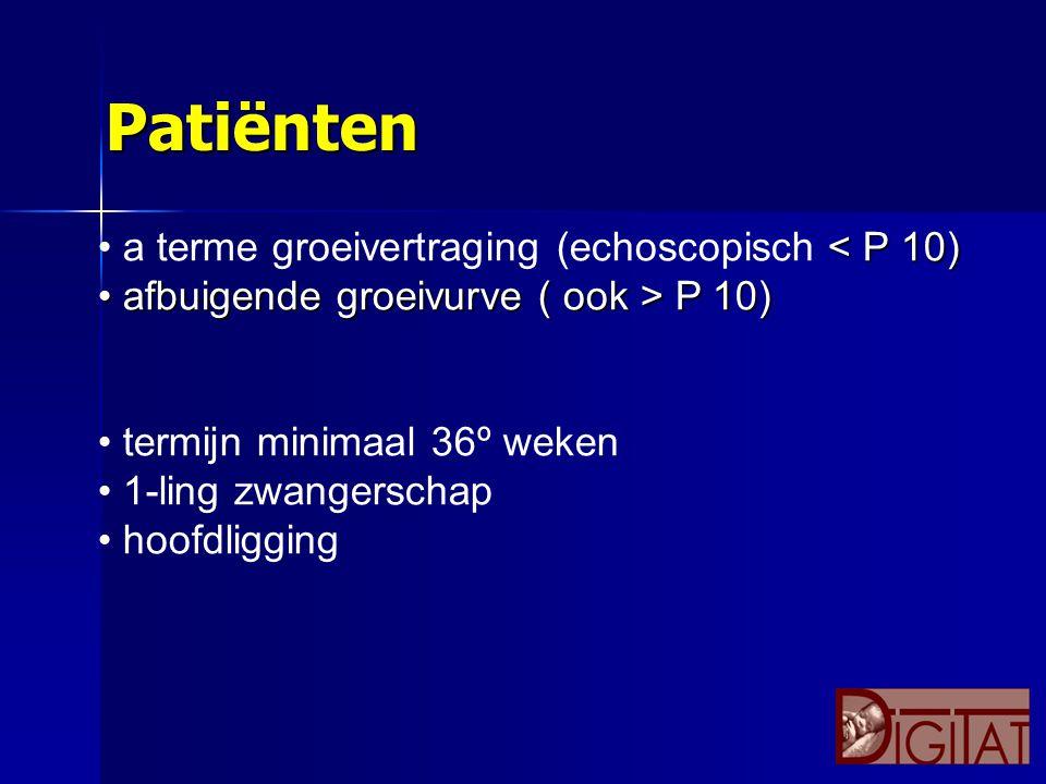 Patiënten a terme groeivertraging (echoscopisch < P 10)