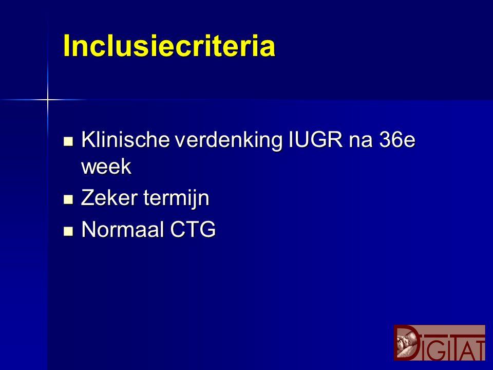 Inclusiecriteria Klinische verdenking IUGR na 36e week Zeker termijn