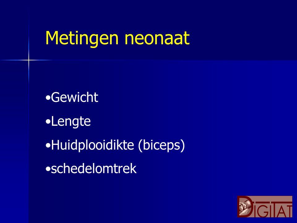 Metingen neonaat Gewicht Lengte Huidplooidikte (biceps) schedelomtrek