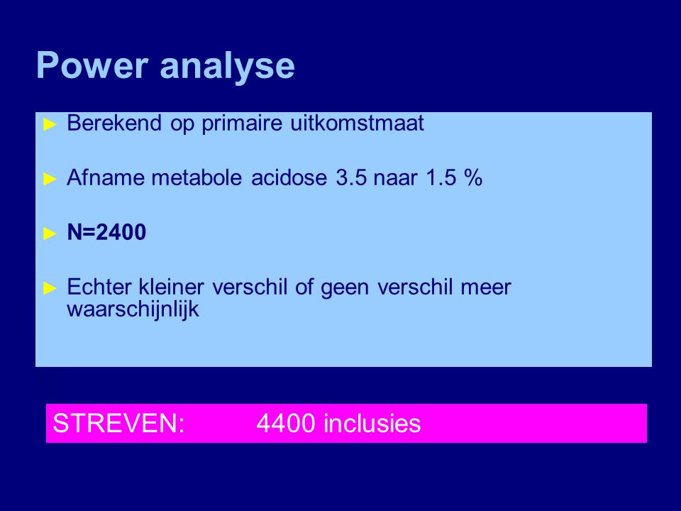 Power analyse STREVEN: 4400 inclusies