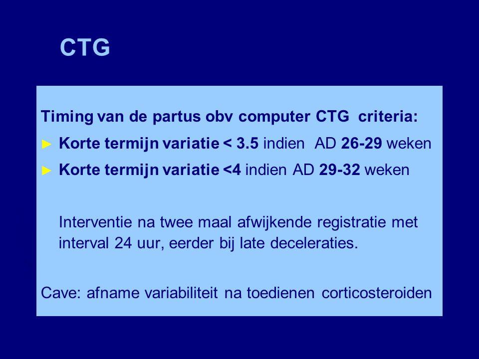 CTG Timing van de partus obv computer CTG criteria: