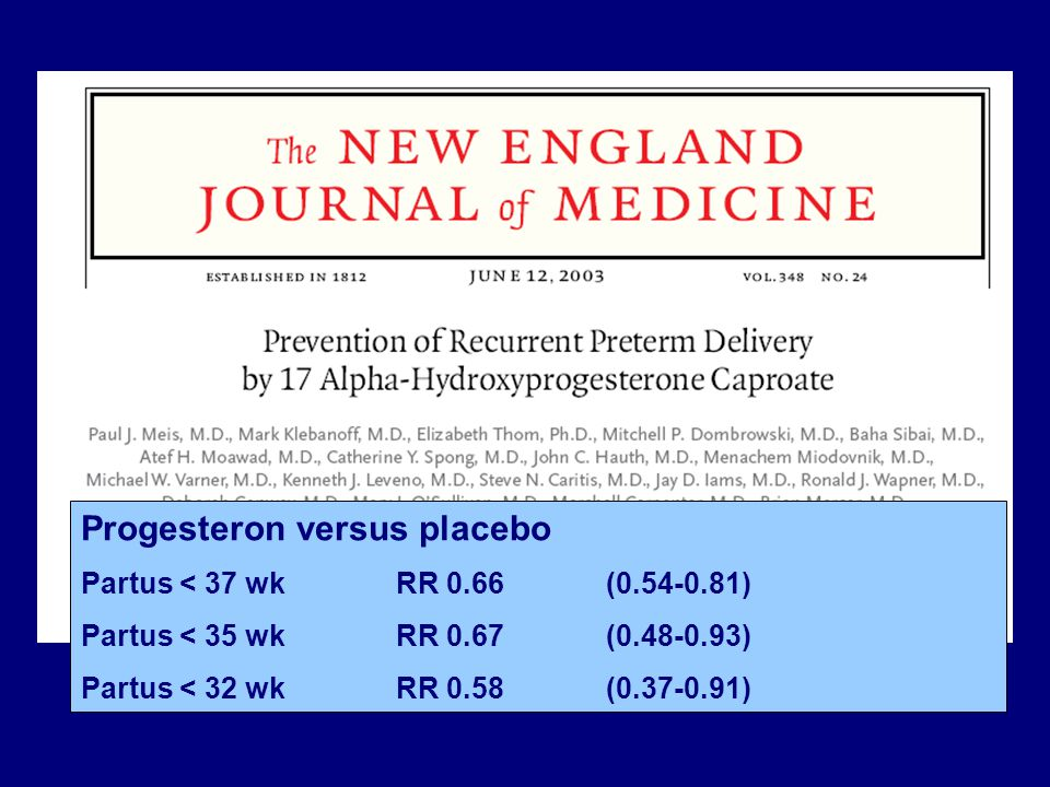 Progesteron versus placebo