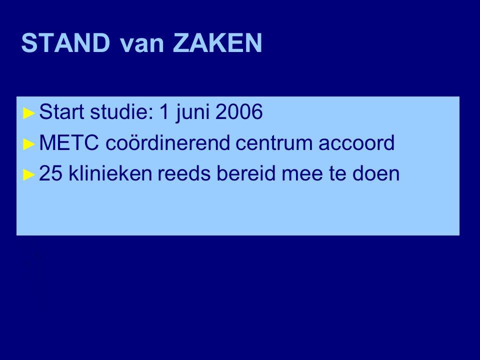 STAND van ZAKEN Start studie: 1 juni 2006
