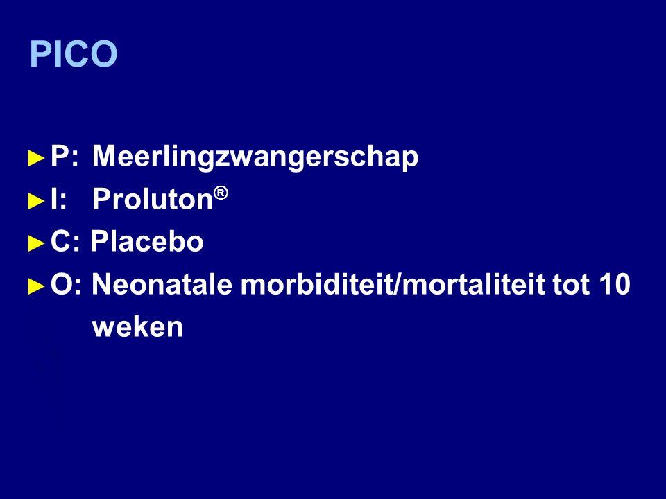 PICO P: Meerlingzwangerschap I: Proluton® C: Placebo