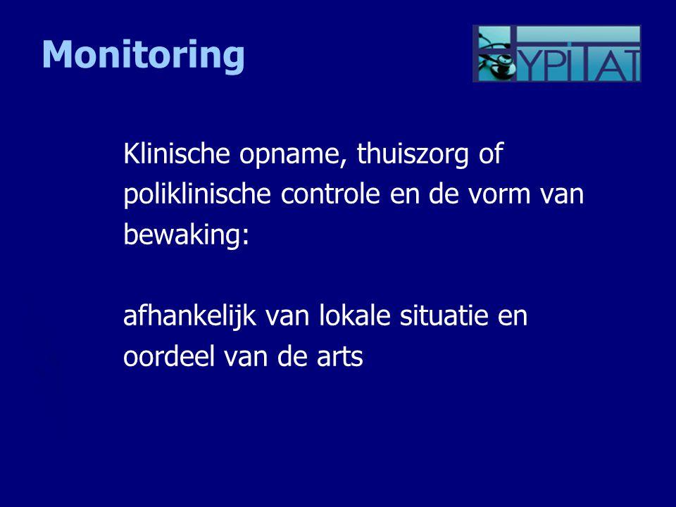 Monitoring Klinische opname, thuiszorg of
