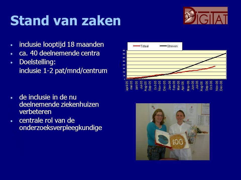 Stand van zaken inclusie looptijd 18 maanden ca. 40 deelnemende centra