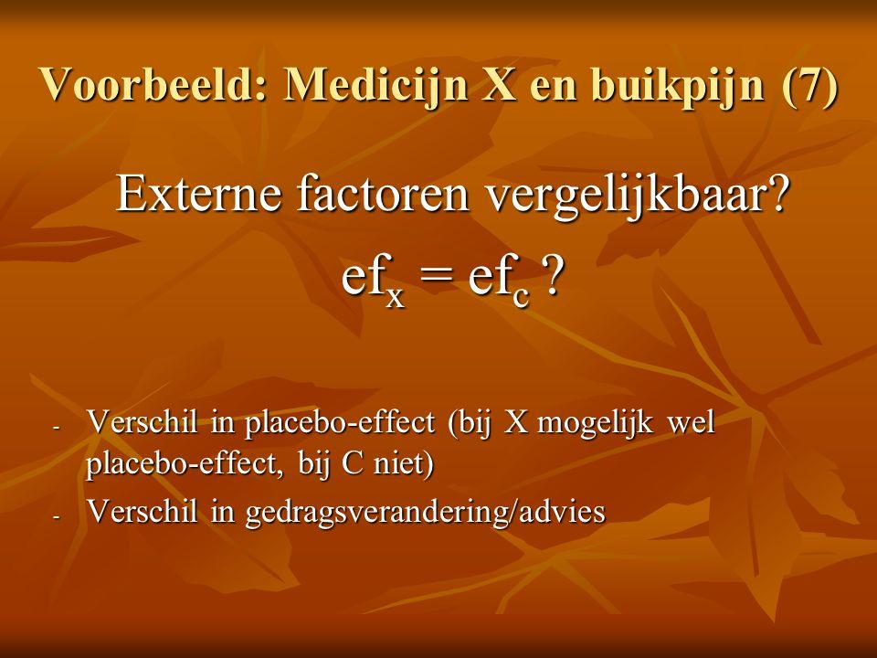 Voorbeeld: Medicijn X en buikpijn (7)