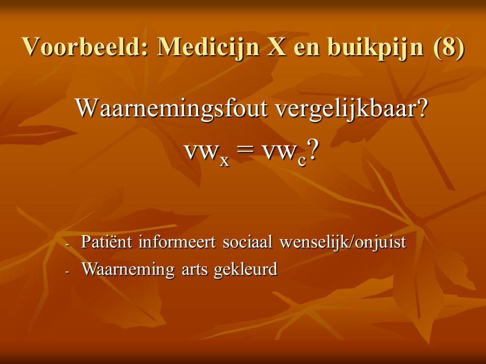 Voorbeeld: Medicijn X en buikpijn (8)