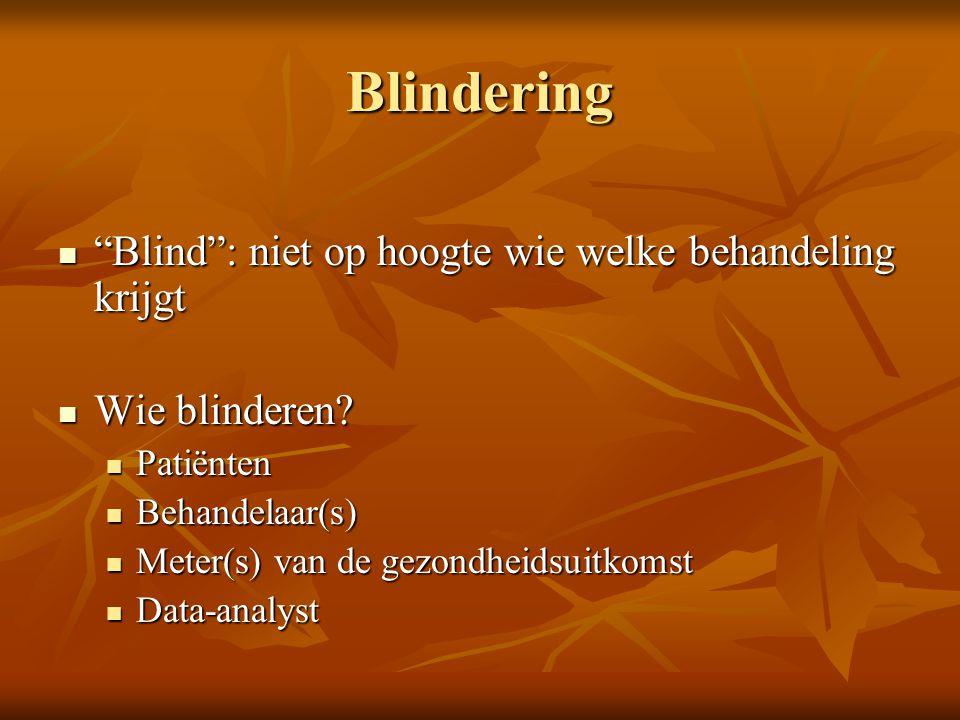 Blindering Blind : niet op hoogte wie welke behandeling krijgt