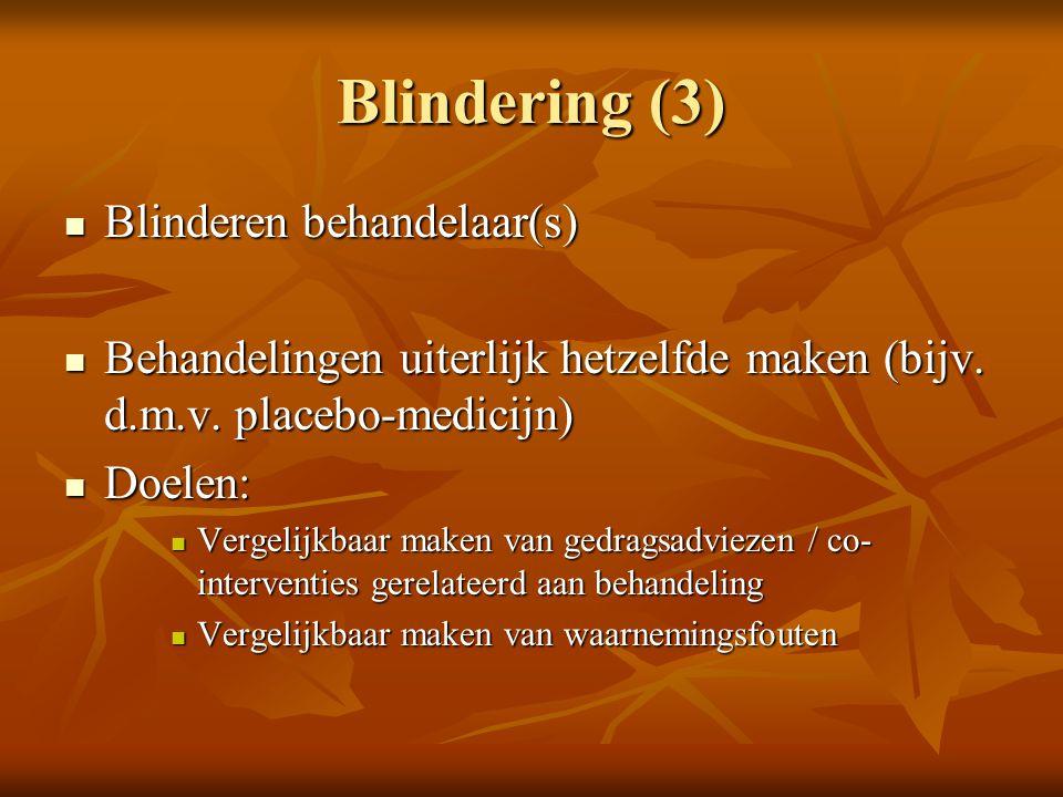 Blindering (3) Blinderen behandelaar(s)