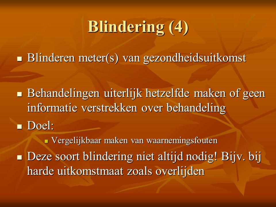 Blindering (4) Blinderen meter(s) van gezondheidsuitkomst