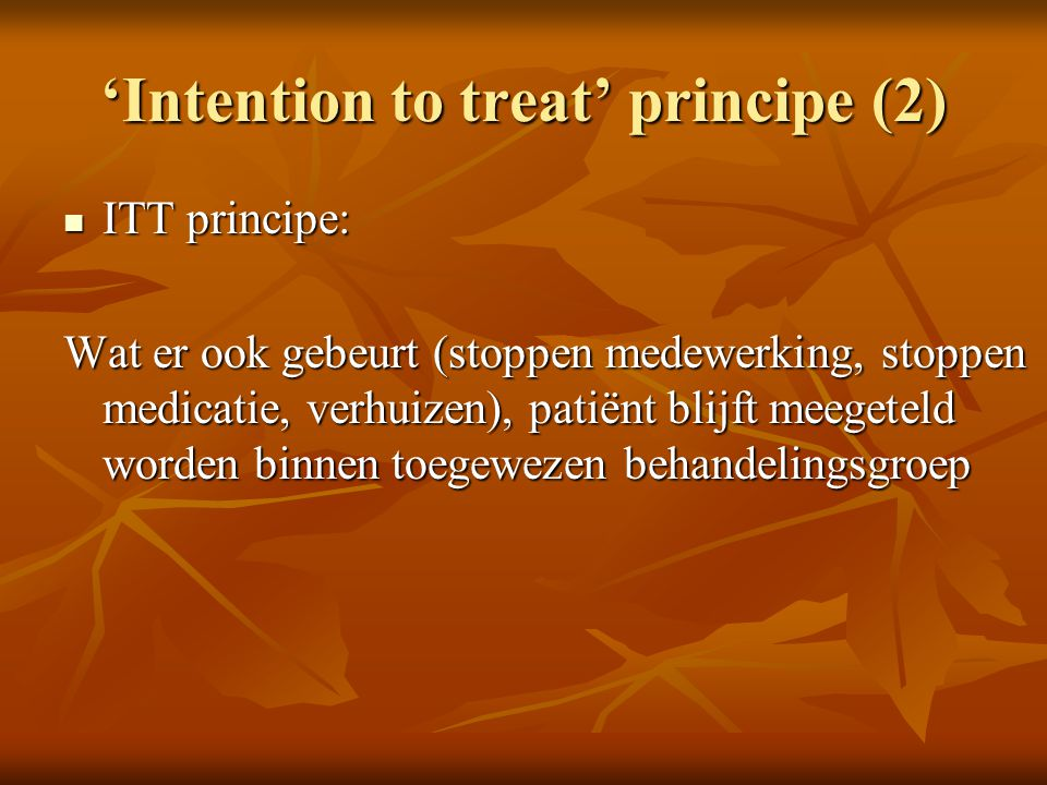 'Intention to treat' principe (2)