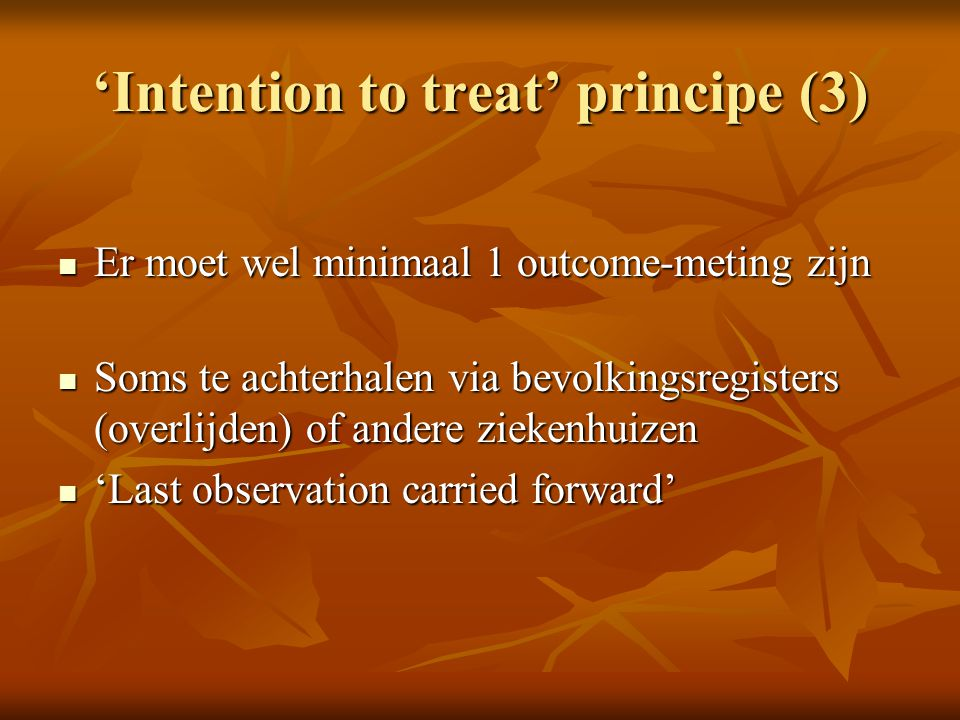 'Intention to treat' principe (3)