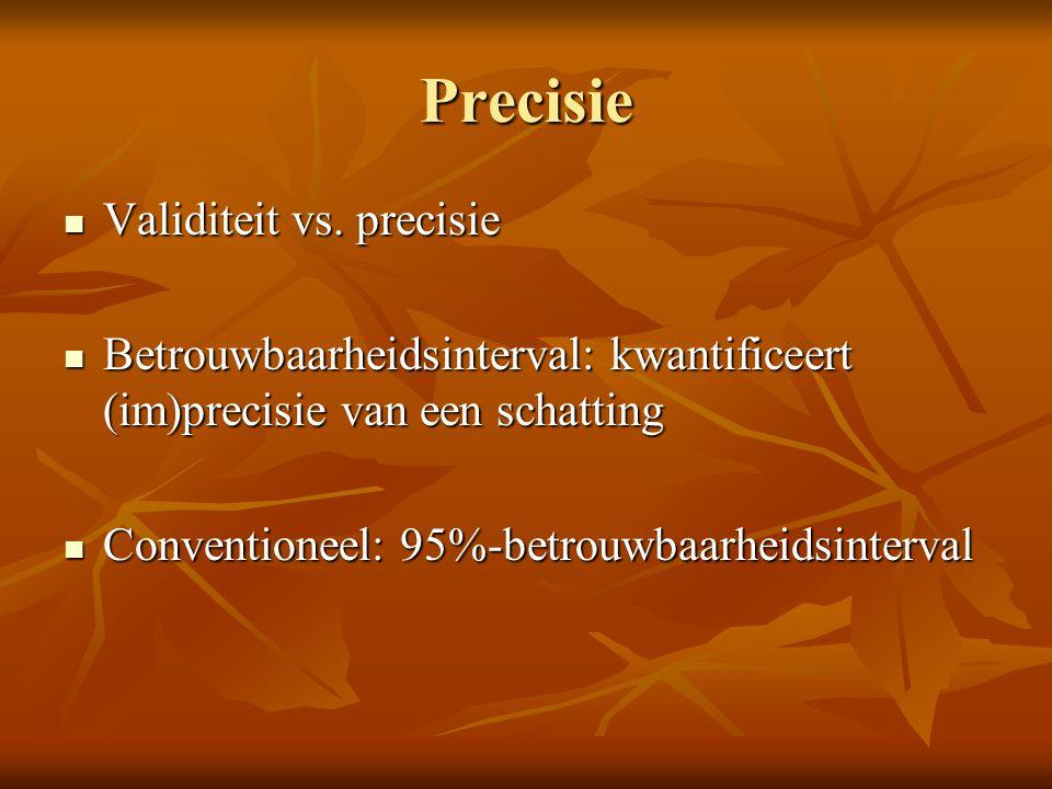 Precisie Validiteit vs. precisie