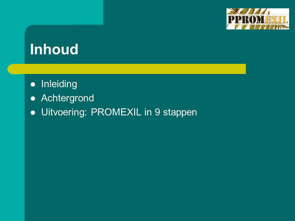 Inhoud Inleiding Achtergrond Uitvoering: PROMEXIL in 9 stappen