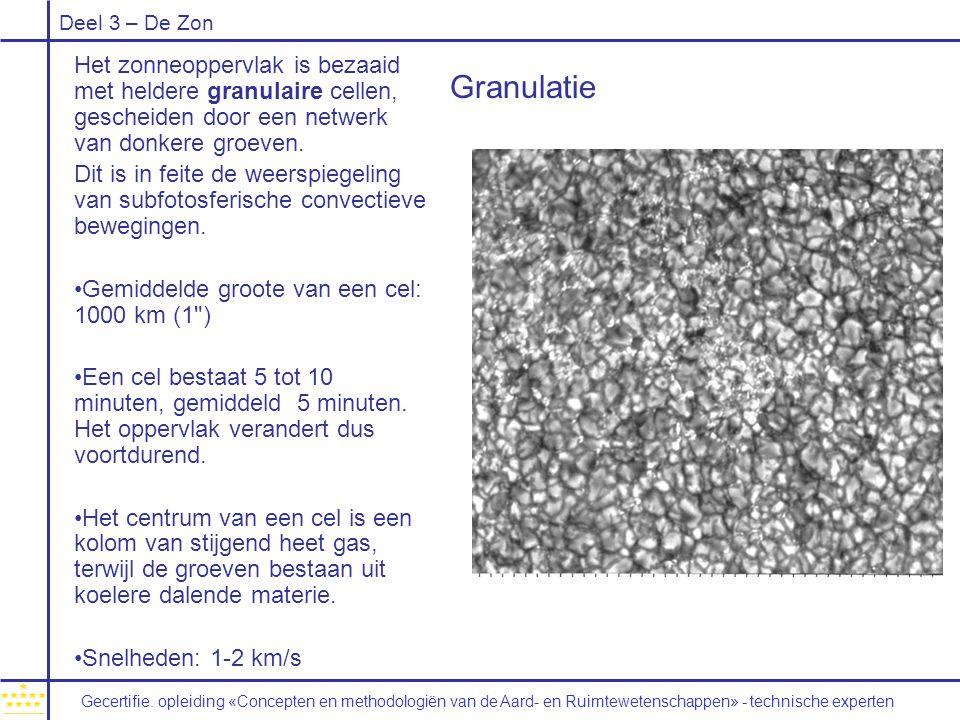 Het zonneoppervlak is bezaaid met heldere granulaire cellen, gescheiden door een netwerk van donkere groeven.