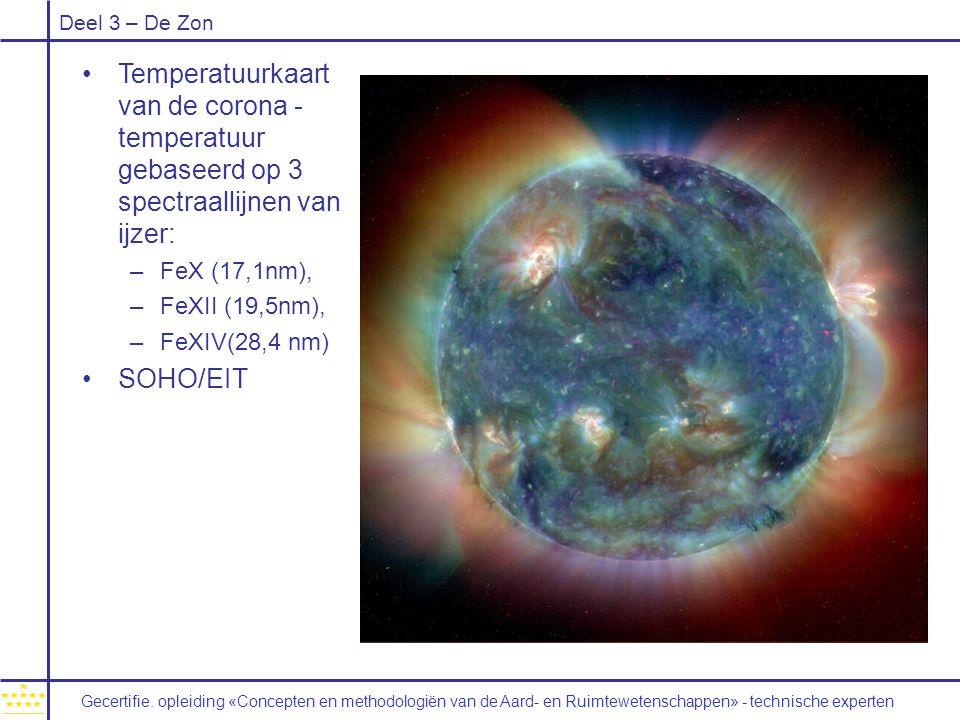 Temperatuurkaart van de corona - temperatuur gebaseerd op 3 spectraallijnen van ijzer: