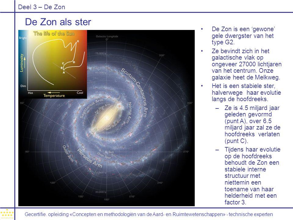 De Zon als ster De Zon is een 'gewone' gele dwergster van het type G2.