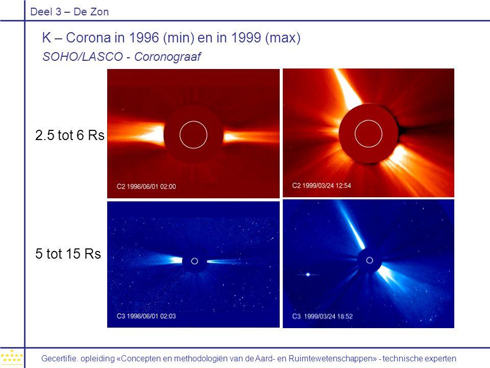 K – Corona in 1996 (min) en in 1999 (max)