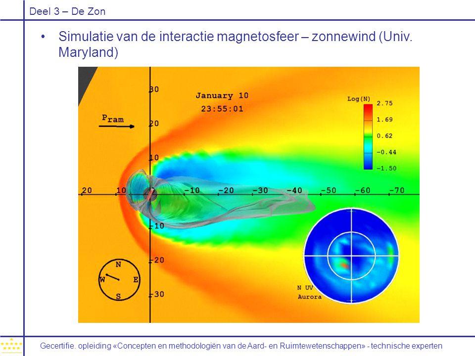 Simulatie van de interactie magnetosfeer – zonnewind (Univ. Maryland)