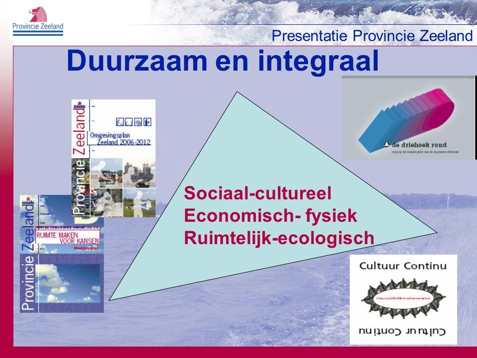 Duurzaam en integraal Sociaal-cultureel Economisch- fysiek