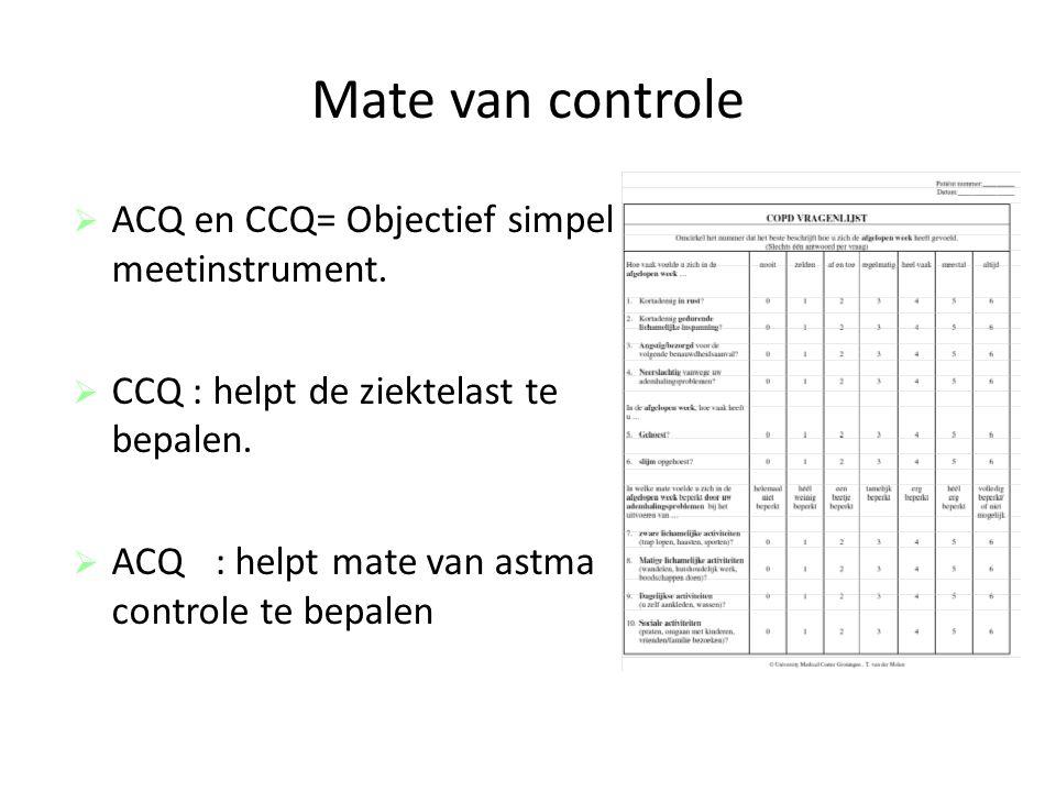 Mate van controle ACQ en CCQ= Objectief simpel meetinstrument.