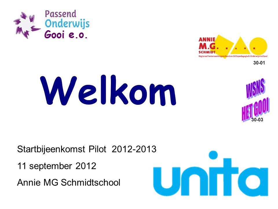 Welkom Startbijeenkomst Pilot 2012-2013 11 september 2012