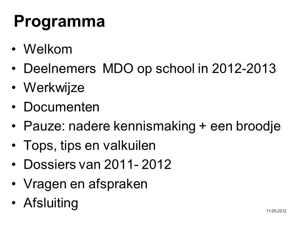 Programma Welkom Deelnemers MDO op school in 2012-2013 Werkwijze