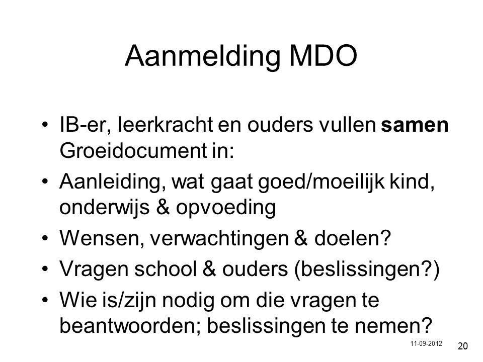 Aanmelding MDO IB-er, leerkracht en ouders vullen samen Groeidocument in: Aanleiding, wat gaat goed/moeilijk kind, onderwijs & opvoeding.