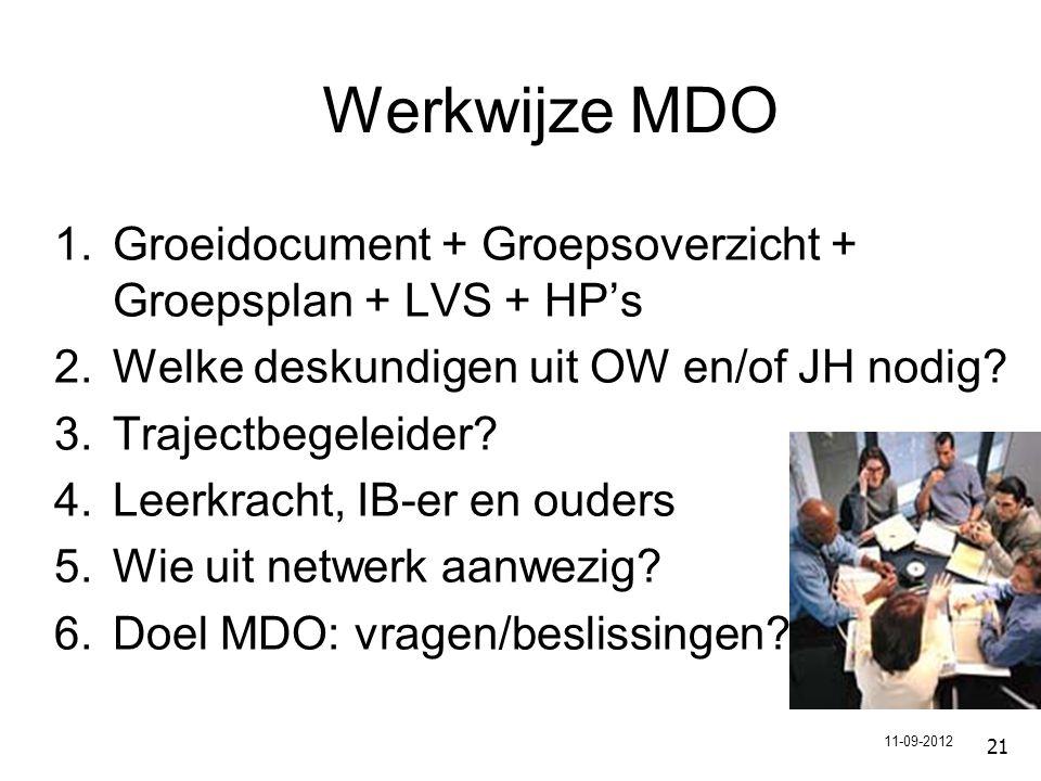 Werkwijze MDO Groeidocument + Groepsoverzicht + Groepsplan + LVS + HP's. Welke deskundigen uit OW en/of JH nodig