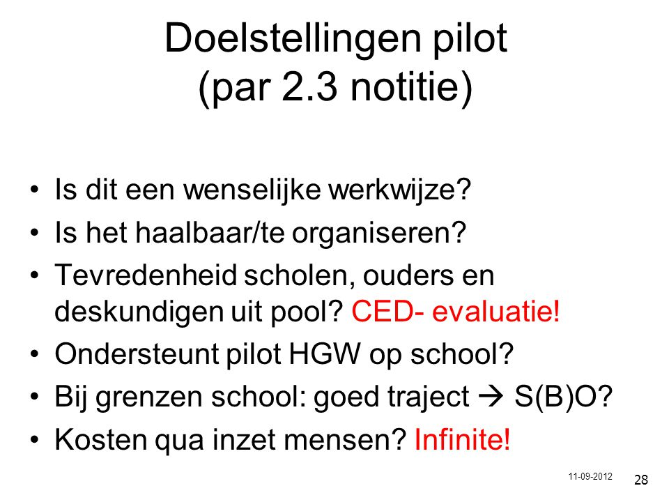 Doelstellingen pilot (par 2.3 notitie)