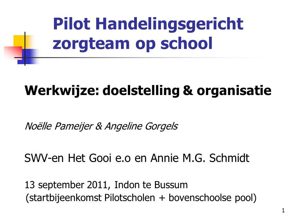 Pilot Handelingsgericht zorgteam op school