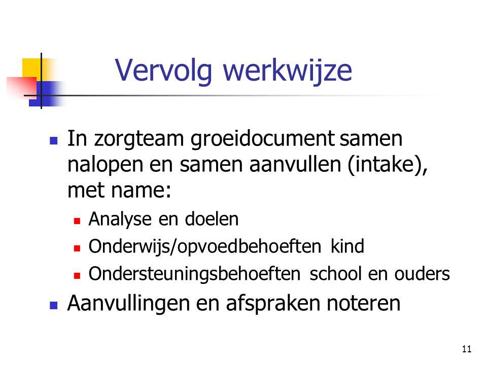 Vervolg werkwijze In zorgteam groeidocument samen nalopen en samen aanvullen (intake), met name: Analyse en doelen.