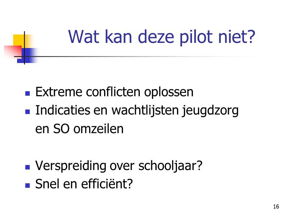 Wat kan deze pilot niet Extreme conflicten oplossen