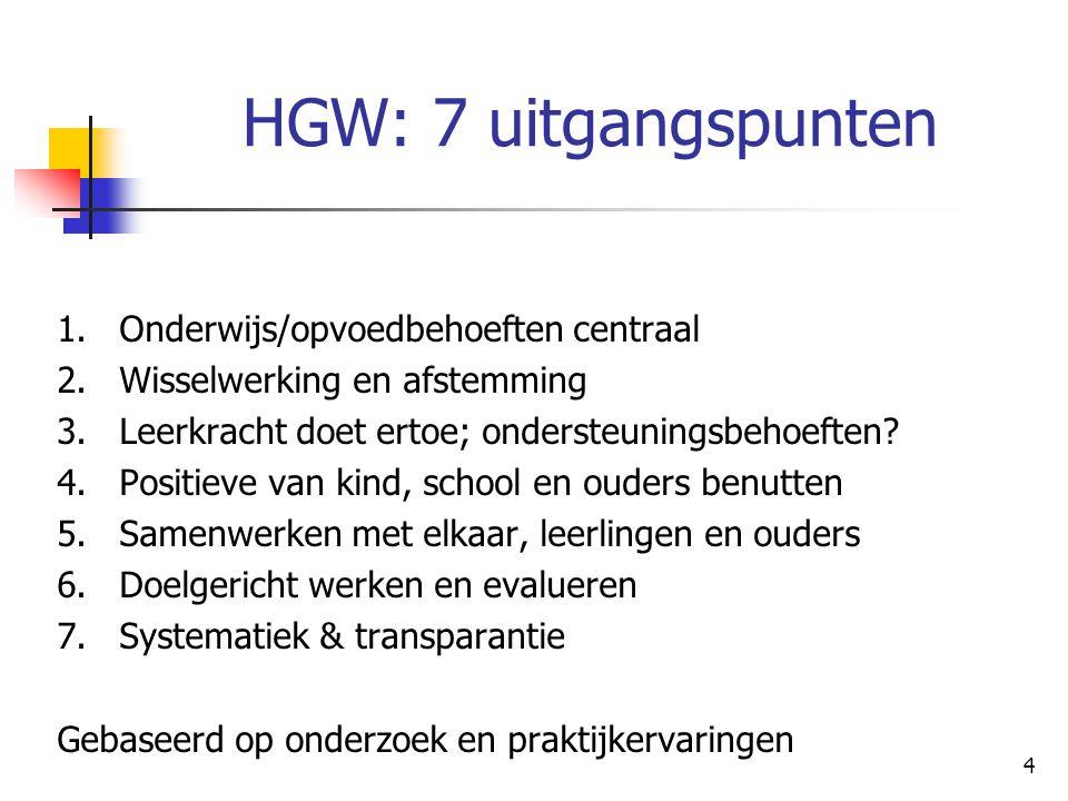 HGW: 7 uitgangspunten 1. Onderwijs/opvoedbehoeften centraal